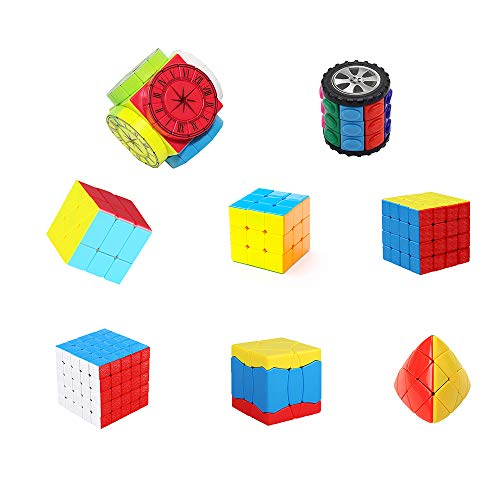 H XD global Speed Cube Set, Magic Cube Bundle 2x2 3x3 4x4 5x5 Stickerless Cube Puzzle Collection - Set of 8 ()