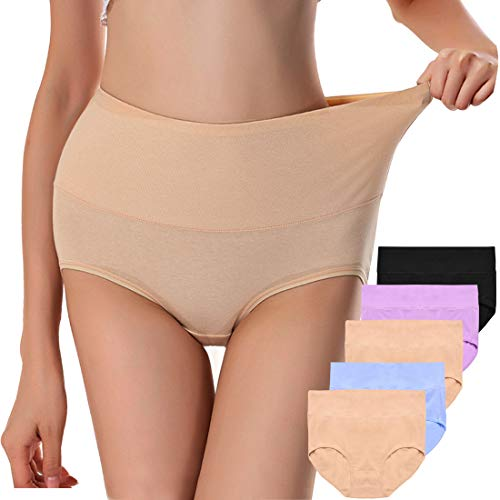 Annyison Women Panties 1/4/5 Pack, Soft Cotton High Waist Breathable Solid Color Briefs Panties for Women (Purple+Black+Blue+2Beige, S)