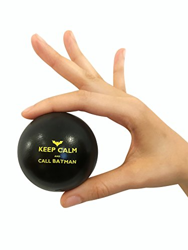 Pure Origins | Keep Calm and Call Batman | Novelty Humor Stress Ball | Squeeze Ball Gift | Fidget Accessory for Stress Relief, Special Needs, Concentration, Motivation, ADHD, and Team Building (Black) - Novelty Stress Balls