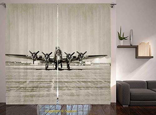 Living Room Bedroom Window Drapes/Rod Pocket Curtain Panel Satin Curtains/2 Curtain Panels/108 x 108 Inch/Airplane Decor,World War II Era Heavy Bomber Front View Old Photo Flying history Takeoff Aeron