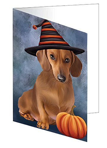 Happy Halloween Dachshund Dog Wearing Witch Hat with Pumpkin Greeting Card D470 (10) ()