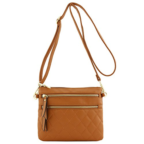 Quilted Multi Zipper Pocket Crossbody Bag Tan - Tan Quilted Bag