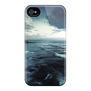 Cute Appearance Cover/tpu GGHigjd287saOhN Stormy Rocky Shore Case For Iphone 4/4s