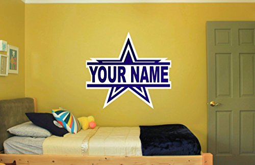 Dallas Cowboys Star with name for Bedroom Wall kids Art Decor Decal ()