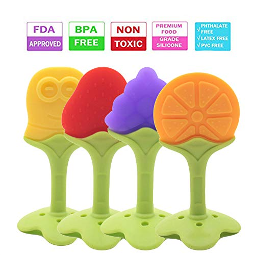 Baby Teether – Baby Teething Toys are Made of Soft Silicone and are BPA Free, Non Toxic, Freezer Safe, Dishwasher Safe, FDA Approved and Soothing for Infants-Boys/Girls (4 Pack) by Rocksoliddealzzz