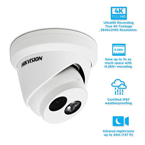 Hikvision DS-2CD2383G0-I 8.0MP 4K UltraHD Exir Dome/Turret Camera 2.8mm, IR, IP67 Weatherproof