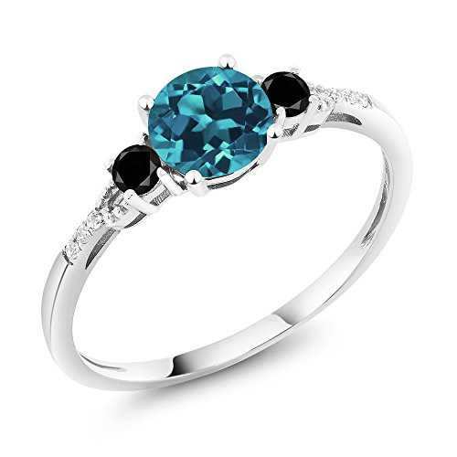 Gem Stone King 10K White Gold Diamond Accent 3-stone Engagement Ring set with London Blue Topaz Black Diamond 0.93 cttw (Size 5)
