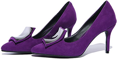 Calaier Womens Jtaaz Pekte Tå 8cm Stiletto Slip-on Pumper Sko Lilla