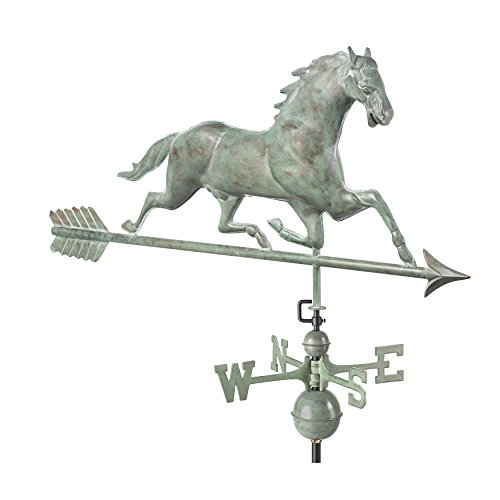 Large Horse Weathervane - Good Directions Horse Weathervane with Arrow, Blue Verde Copper
