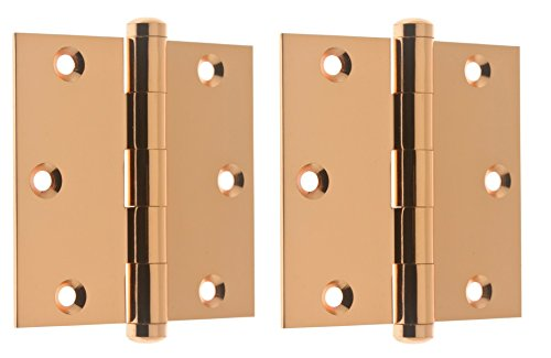 "Professional Grade Quality Solid Brass 3-1/2"" x 3-1/2"" Full Mortise Square Corner Door Hinges by idh (Pair) (Bright Copper)"