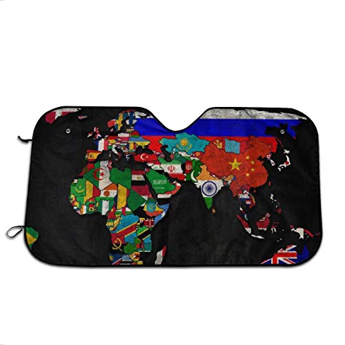 (Political Map of World Desktop Sun Shade Heat Insulation Universal Windshield Shade Thicken Foldable Aluminum UV Protector Sunshiled for SUV Truck Camper to Keep Your Car Cool 70130 cm)