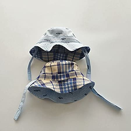 UPF Adjustable Bucket Sun Hat with Chin Strap Fish Pattern Fishing Hat size 4-8 years beige Fairy Baby Toddler Kids 50