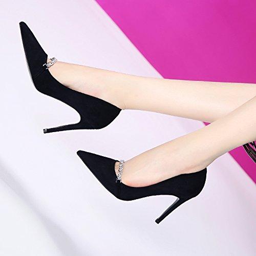 GTVERNH-Koreanische Version Aus Metall - Und Kette Flachen Mund Hat Und - Neue Schuhe Schwarze Schuhe Alles Passt Gut Mit Hochhackige Schuhe 9Cm,36,Schwarz - e11e53