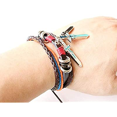 GK-O Anime Sword Art Online SAO Leather Bracelet MutiLayer Bangel Cuff Bangle Wristband Cosplay Costume (Sword): Toys & Games