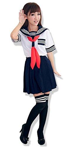 ACE SHOCK Sailor Costume Women, Halloween Japanese Girls School Uniform Outfit (XXL, Short Sleeves)