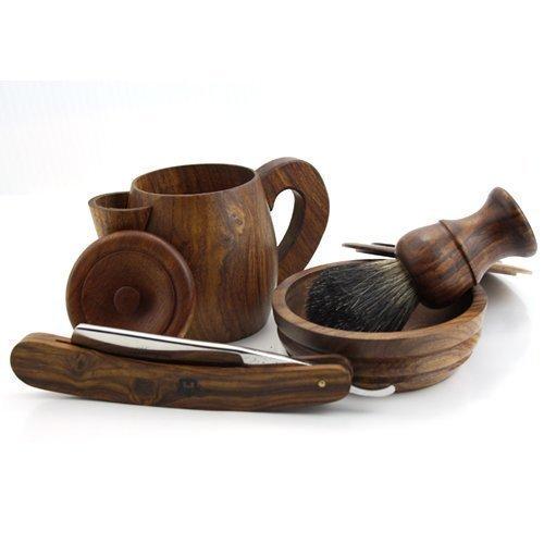 Vintage, hecho a mano de estilo de madera 4unidades Afeita Set incluyendo Brocha de Afeitar, navaja de afeitar, Afeita Jabonera y agua caliente Afeitado Taza sophist Collection elegante de haryali London en Rose Wood.