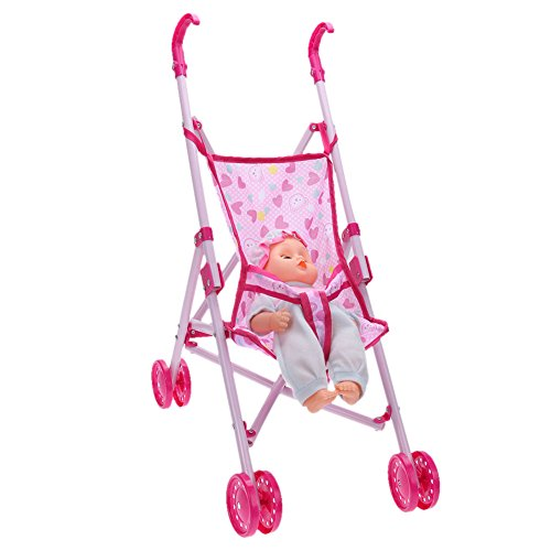 Amazon.com: Amazingdeal Baby Buggy Stroller Doll Toy Pushchair Pram FoldableBaby Girls Toy Pram Gifts: Toys & Games