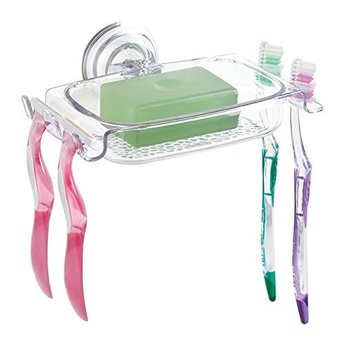 mdesign duschablage kunststoff stabiler seifenhalter mit starkem haftungssystem kombi duschkorb mit zustzlichen zahnbrstenhalter - Duschablage Kunststoff