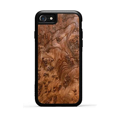 Redwood Burl - iPhone 8 - Black Traveler Protective Wood Case by Carved, Unique Real Wooden Phone Cover (Rubber Bumper, Fits Apple iPhone 8)