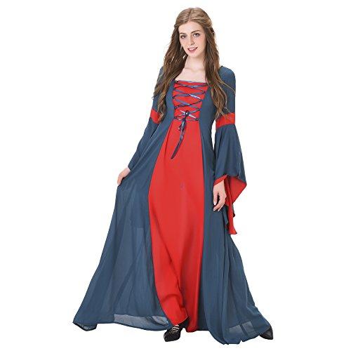 COUCOU Age Square Neck Renaissance Medieval Dress Princess Gown (Medieval Gown Dress)