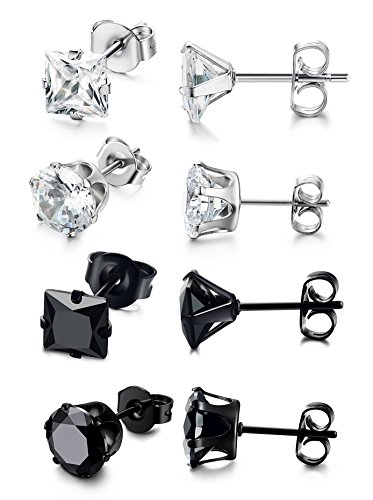 FIBO STTEL 4 Pairs Stainless Steel Stud Earrings for Men Women Cubic Zirconia Inlaid,3-8MM Available