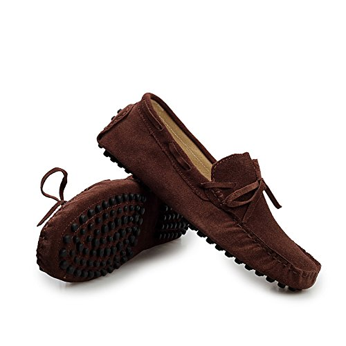 Sunrolan Mens Fashion Dress Casual Leather Flats Driving Mocassino Scarpe Fannullone Ylw2081coffee