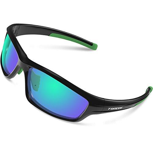 TOREGE Polarized Sports Sunglasses for Man Women Cycling Running Fishing Golf TR90 Unbreakable Frame TR034 (Black&Green&Green)