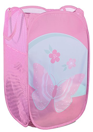 - Mesh Popup Laundry Hamper - Portable, Durable Handles, Collapsible for Storage and Easy to Open. Folding Pop-Up Clothes Hampers are Great for The Kids Room, College Dorm or Travel. (Butterfly)