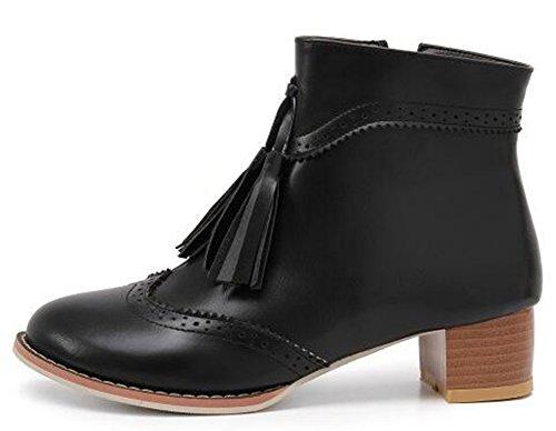 IDIFU Womens Vintage Fringes Round Toe Side Zipper Ankle Boots Mid Chunky Heels Black HODdB