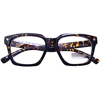 dffe8aab39a Vintage Inspired Small Nails Square Clear Lens Glasses Nerd Spectacles  Classic Eyeglasses (Tortoise7428