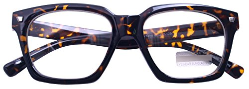 Vintage Inspired Small Nails Square Clear Lens Glasses Nerd Spectacles Classic Eyeglasses (Tortoise7428, Clear) -