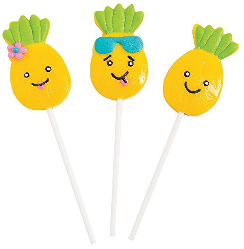 Pineapple Character Lollipops (12 Pack) Individually Wrapped.