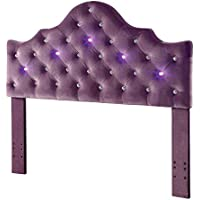 HOMES: Inside + Out T Idf-7404PR-HB-T Goshen Camelback Headboard with LED Lighting, Twin, Purple