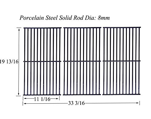 Votenli P6352C (3-Pack) Gloss Cast Iron Cooking Grid Replacement for Gas Grill Model Perfect Flame E3520-LPG/NG, Set of 3