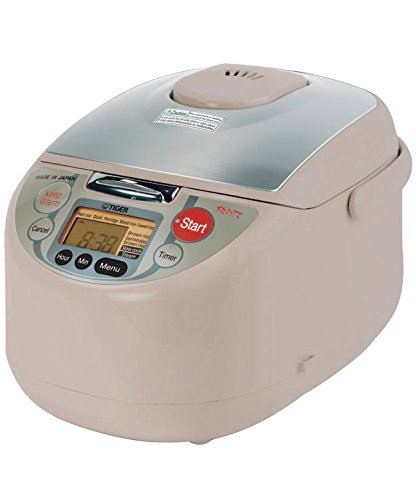 Tiger JAH-T10U-TM 5.5-Cup (Uncooked) Micom Rice Cooker and Warmer with Steam Basket, White