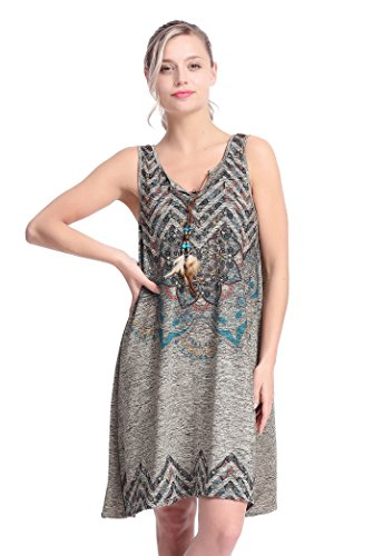 Artemis & Ash Women's T-shirt Dress Bohemian Neck Sleeveless Ethic Style Casual Loose Fashion TShirts Tank Top - (Psychedelic Maxi Dress)