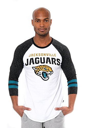 NFL Jacksonville Jaguars Men's Raglan Baseball Team Logo 3/4 Long Sleeve T-Shirt Top, White, X-Large