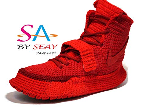 buy online c4f7a 1eac9 Amazon.com: Crochet Air Yeezy 2 Red October Knitted Slippers ...