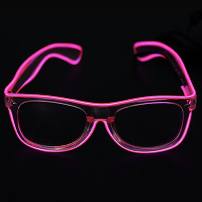 El Wire Glow Sun Glasses Multicolor Led Frame Flashing Glasses (Pink)