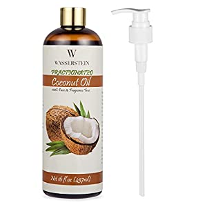 Therapeutic Grade Fractionated Coconut Oil with Pump - 100% Pure & Natural. An Ideal Base and Carrier Oil for Aromatherapy or as a Hydrating Massage Oil by Wasserstein (16oz, Coconut)