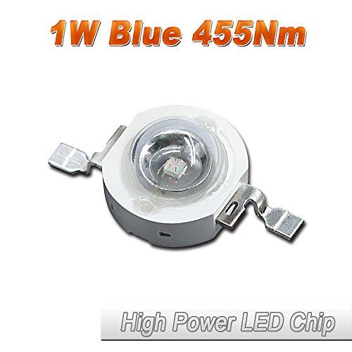 10 Pcs Hontiey High Power LED Chip 1W Blue Light 455Nm-460Nm Bulbs 1 watt Beads DIY Spotlights Floodlight COB Integration Lamp SMD Square lights