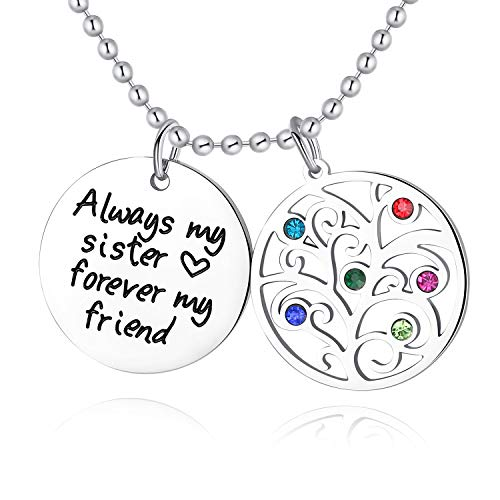 XBRose Always My Sister Forever My Friend Tree of Life Birthstone Necklace, Jewelry for Women & Girls, Birthday Gifts for Sister, Best Friends (sisterfriend)
