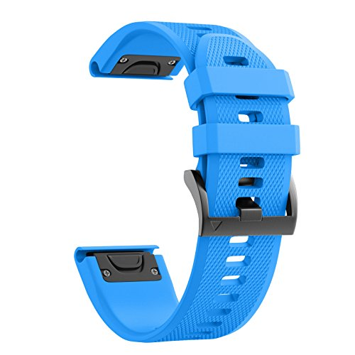ANCOOL Compatible Garmin Fenix 5 Band Easy Fit 22mm Width Soft Silicone Watch Strap Compatible Garmin Fenix 5/Fenix 5 Plus/Forerunner 935/Approach S60/Quatix 5 - Blue