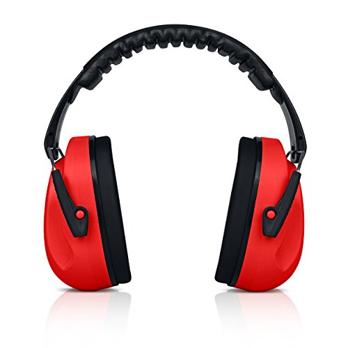 HearTek Kids Earmuffs Hearing Protection with Travel Bag- Junior Ear Defenders for Children, Padded Ear Protection, Small Adults, Women - Adjustable Protector Noise Reduction Ear Muffs - Red