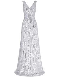 Women Sequin Bridesmaid Dress Sleeveless Maxi Evening Prom Dresses
