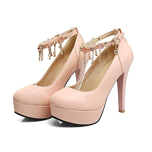 Pumps PU High Heels Toe Women's Round VogueZone009 Shoes Solid Pink Buckle I8qxaP5