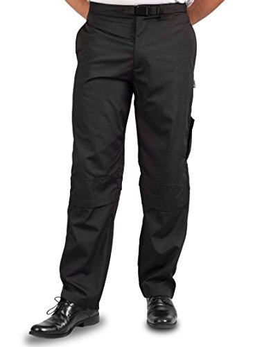 KNG Mens Vented Active Chef Pant, Black, S by KNG