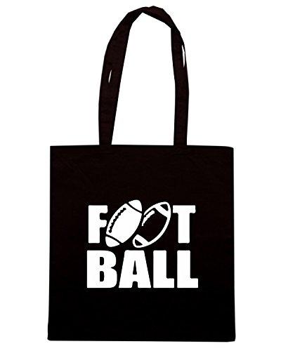 T-Shirtshock - Bolsa para la compra WC1110 American Football Two Balls Maglietta Negro