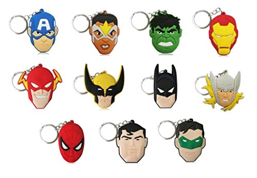 11 Pieces, Superhero Key Chains Party Favors for Children Party Theme Superheroes - Tag Lantern