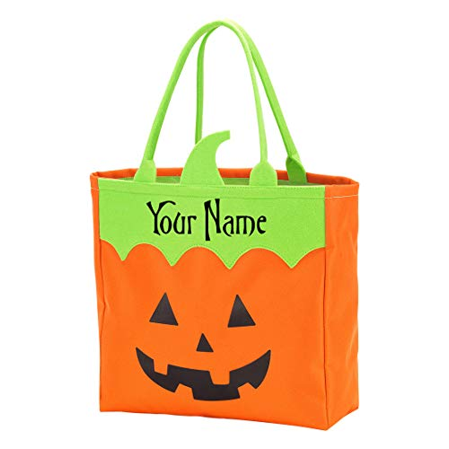 Halloween Treat Baskets Personalized (Personalized Jack-O-Lantern Pumpkin Halloween Trick or Treat Candy Basket Reusable Tote Sack Bag - 12in x 12in x)